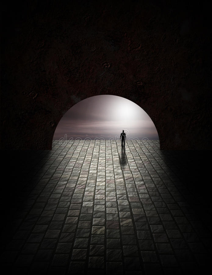 Geheimnis-Mann im Tunnel stock abbildung
