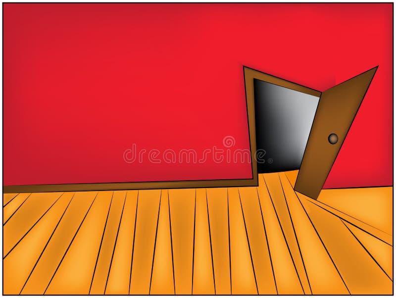 Geheimnis-Raumkarikatur-Vektor Illustration des Hauses oder des Bürokorridors und der -offenen Tür stock abbildung