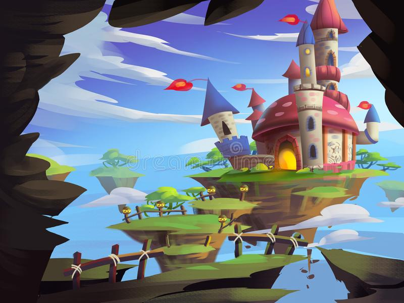 Geheimnis-Schloss mit fantastischer, realistischer und futuristischer Art vektor abbildung