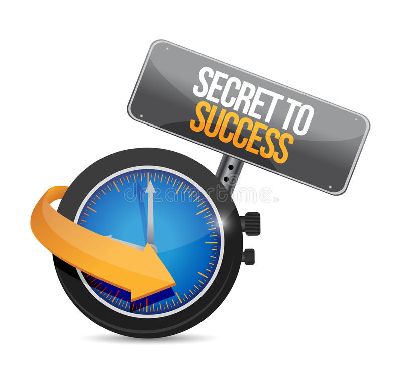 Geheimnis zum Erfolgszeituhr-Zeichenkonzept lizenzfreie abbildung