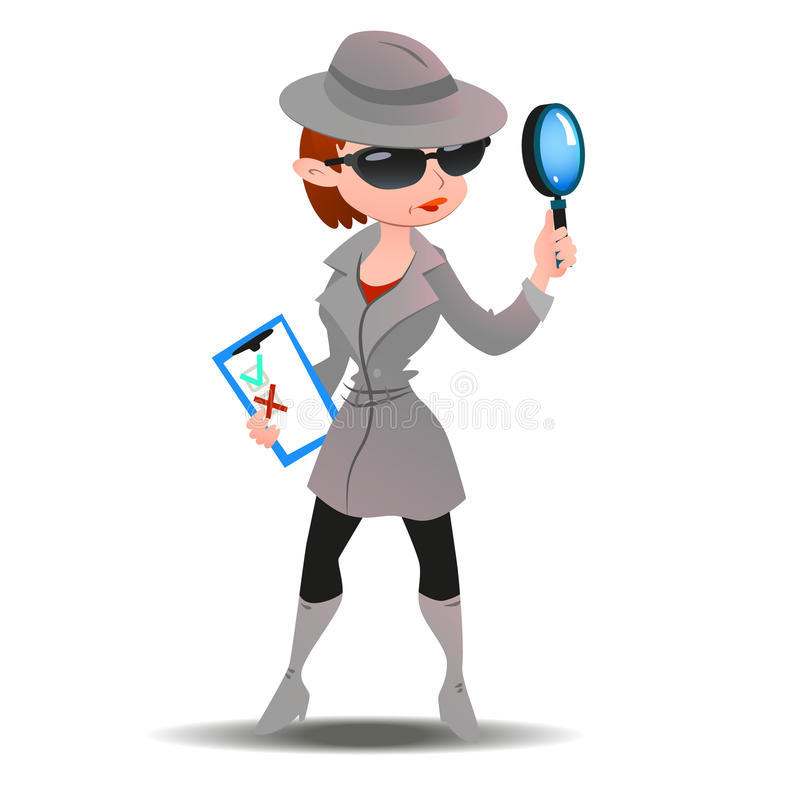 Geheimniskäuferfrau im Spionsmantel stockfotografie