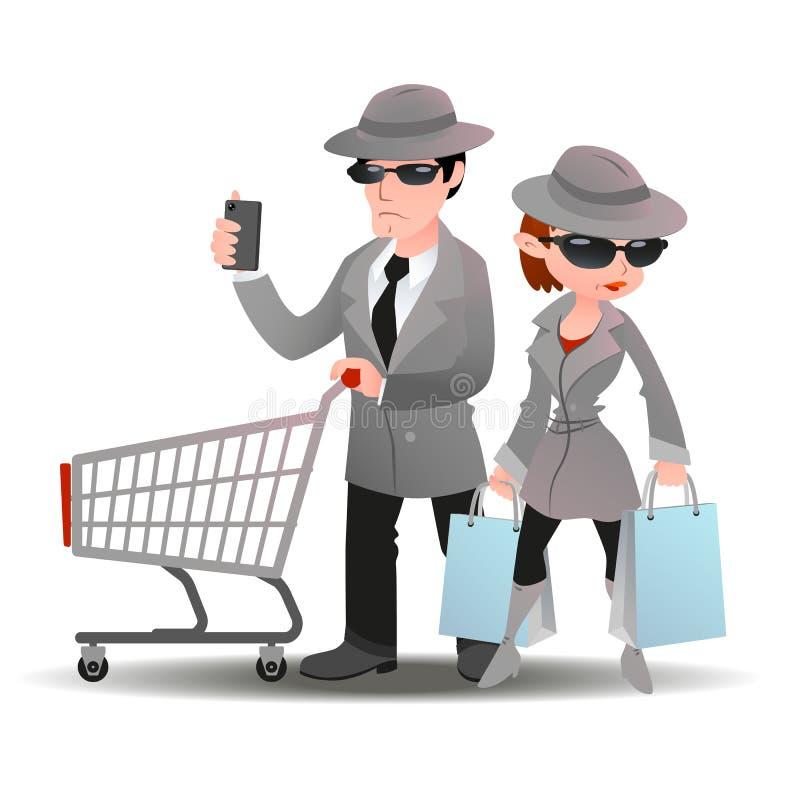 Geheimniskäufermann mit Warenkorbtelefon und Frau bauschen sich im Spionsmantel lizenzfreie abbildung