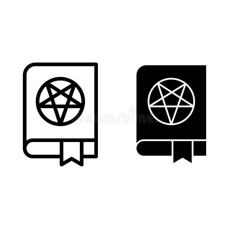 Geheimnisvolle Buchlinie und Glyphikone Buch der magischen Vektorillustration lokalisiert auf Weiß Buch mit Pentagramentwurfsart stock abbildung