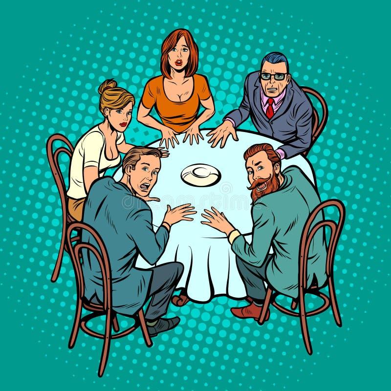 Geheimnisvoller Seance, Leute am Tisch lizenzfreie abbildung