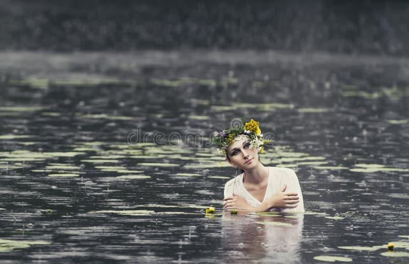 Geheimzinnig beeld van een mooie vrouw in hout Eenzaam geheimzinnig meisje op achtergrond van wilde aard Vrouw op zoek naar zich stock afbeeldingen