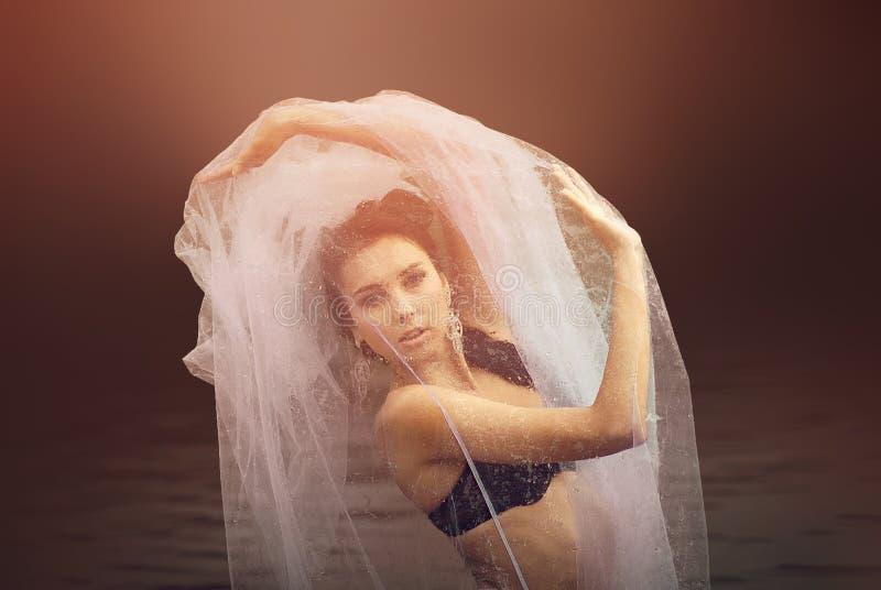 Geheimzinnig en manierportret van sensueel wijfje stock fotografie