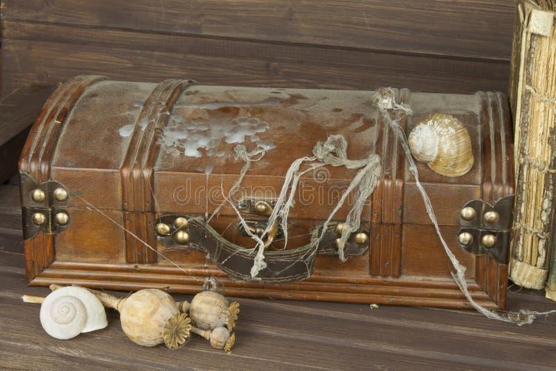 Geheimzinnig gesloten kabinet De doos van pandora De houten Borst van de Schat Het vinden van een geheimzinnige houten doos royalty-vrije stock fotografie