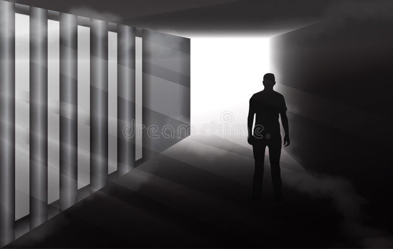 Geheimzinnig mensensilhouet in nevelige tunnel royalty-vrije illustratie