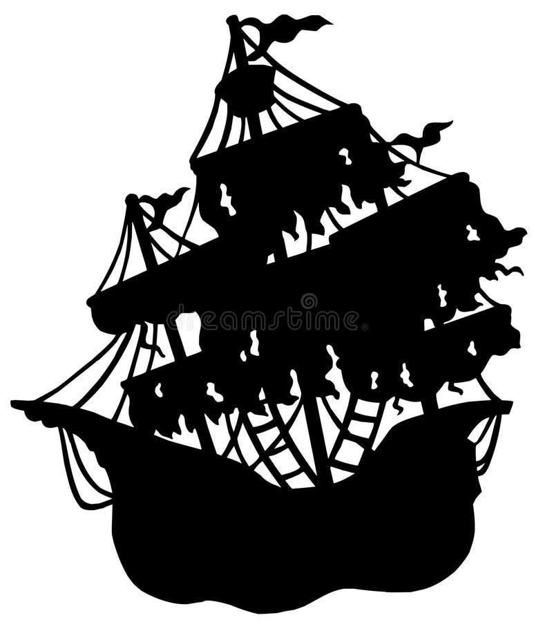 Geheimzinnig schipsilhouet stock illustratie