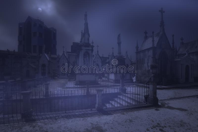Geheimzinnige begraafplaatstreden stock afbeelding