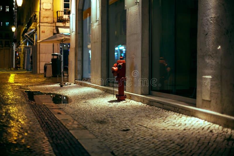 Geheimzinnige smalle nachtsteeg met lantaarns stock foto's