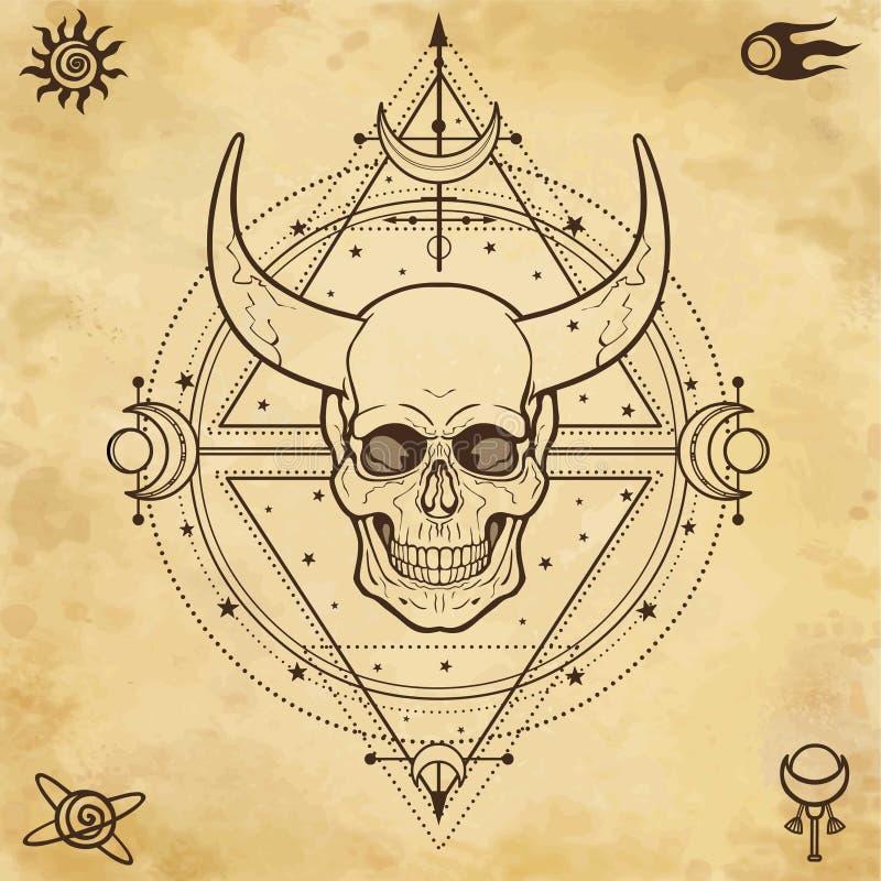 Geheimzinnige tekening: gehoornde schedel, heilige meetkunde, ruimtesymbolen royalty-vrije illustratie