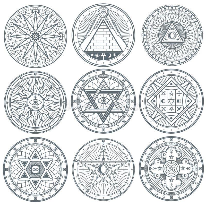 Geheimzinnigheid, geheime hekserij, alchimie, mystieke uitstekende gotische vectortatoegeringssymbolen royalty-vrije illustratie