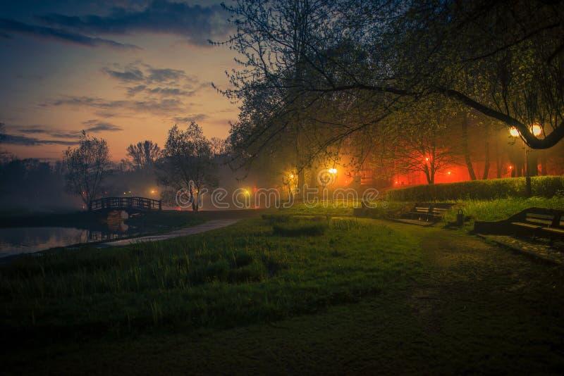 Geheimzinnigheid Mist in het Stadspark royalty-vrije stock fotografie