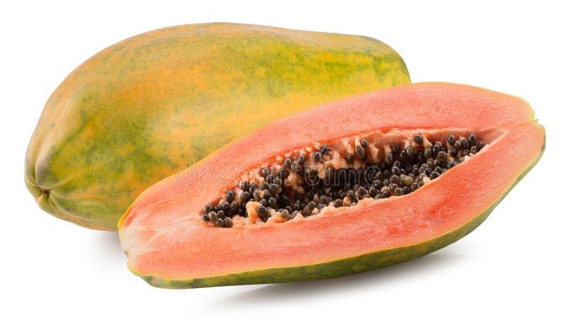 Gehele één en de helft van papaja op de witte achtergrond wordt geïsoleerd die royalty-vrije stock fotografie