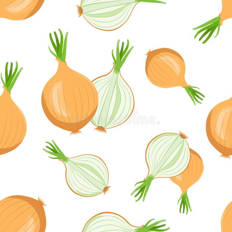 Gehele en gesneden bollen van uien met groene pijlen van ui royalty-vrije illustratie