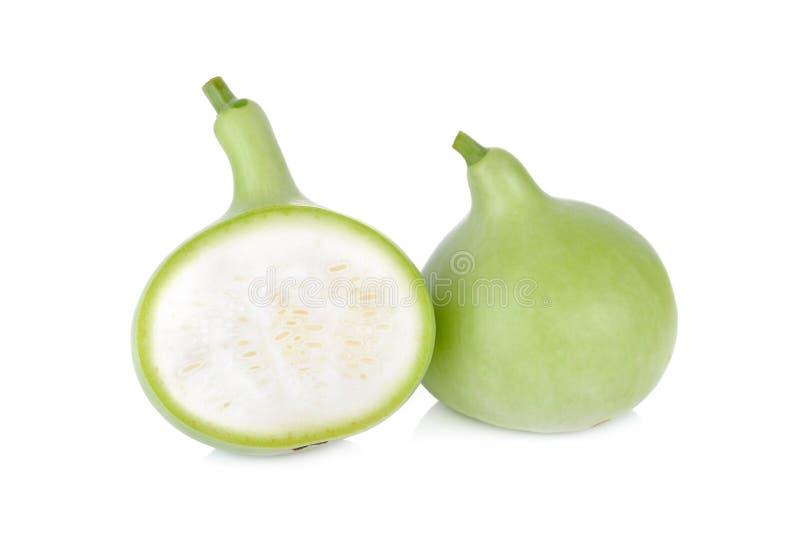 Gehele en halve besnoeiings groene kalebasboom op witte achtergrond royalty-vrije stock afbeelding
