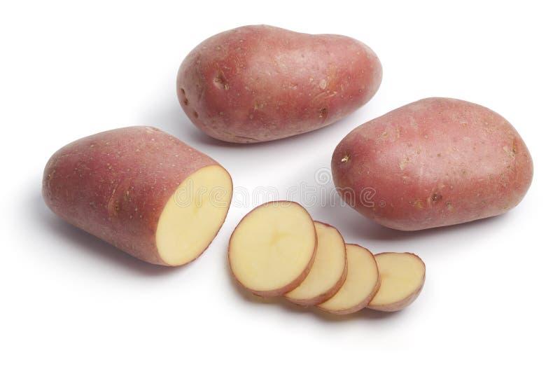 Gehele gesneden aardappels Roseval royalty-vrije stock afbeeldingen