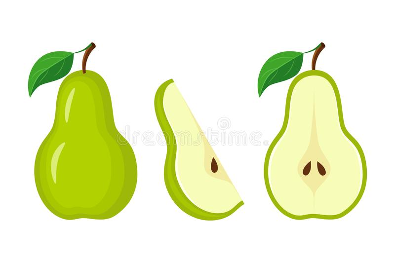 Gehele groene peer, halve peer en isola van de plak vectorillustratie stock illustratie