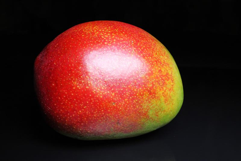 Gehele mango op zwarte weerspiegelende studioachtergrond Geïsoleerde zwarte glanzende spiegel weerspiegelde achtergrond voor elk  royalty-vrije stock afbeelding