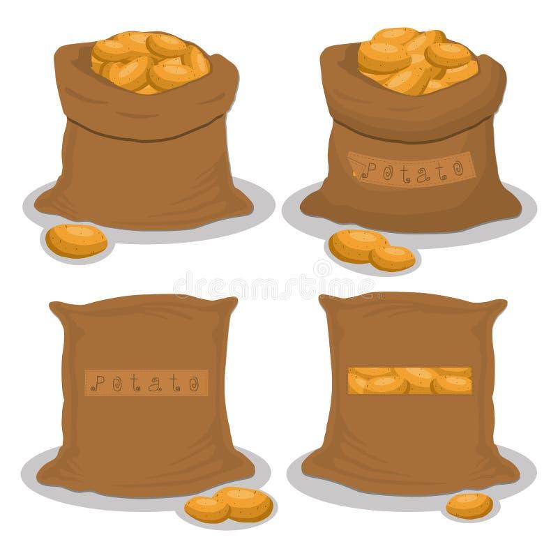 Gehele plantaardige aardappel in zak vector illustratie