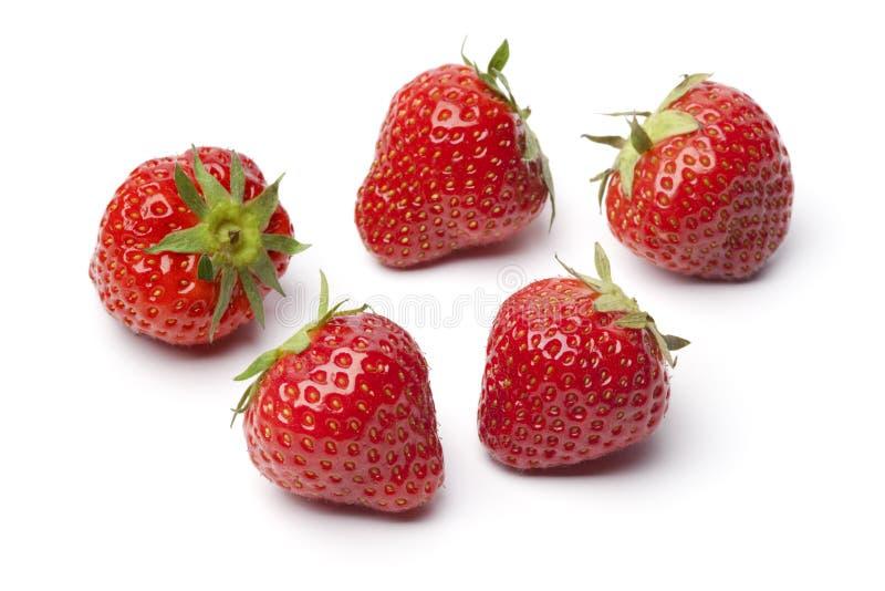 Gehele verse rode aardbeien stock foto