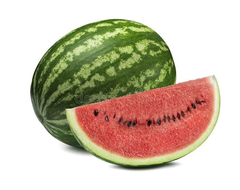 Gehele watermeloen en grote die plak op witte achtergrond wordt geïsoleerd stock fotografie