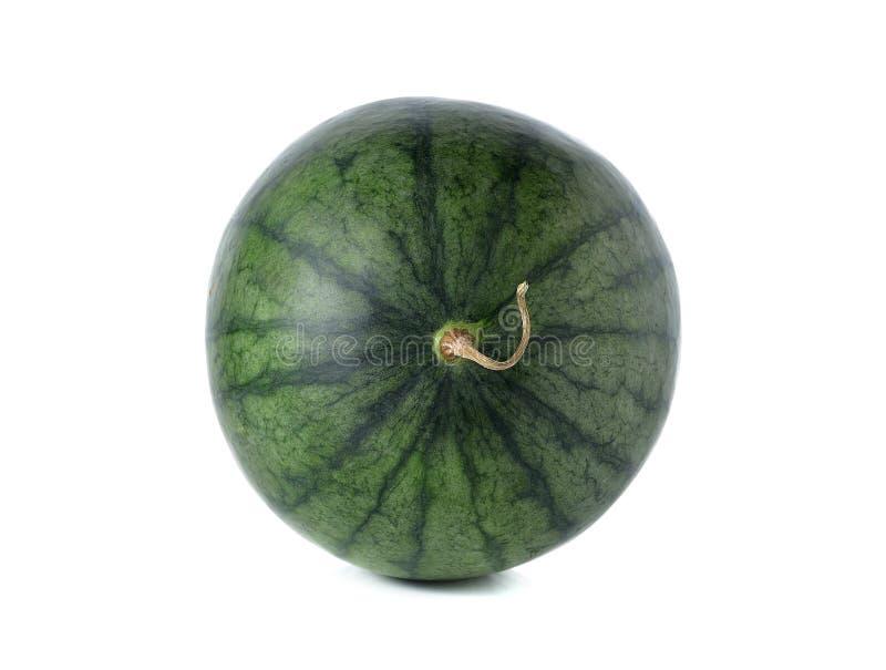 Gehele watermeloen met stam op wit royalty-vrije stock foto's
