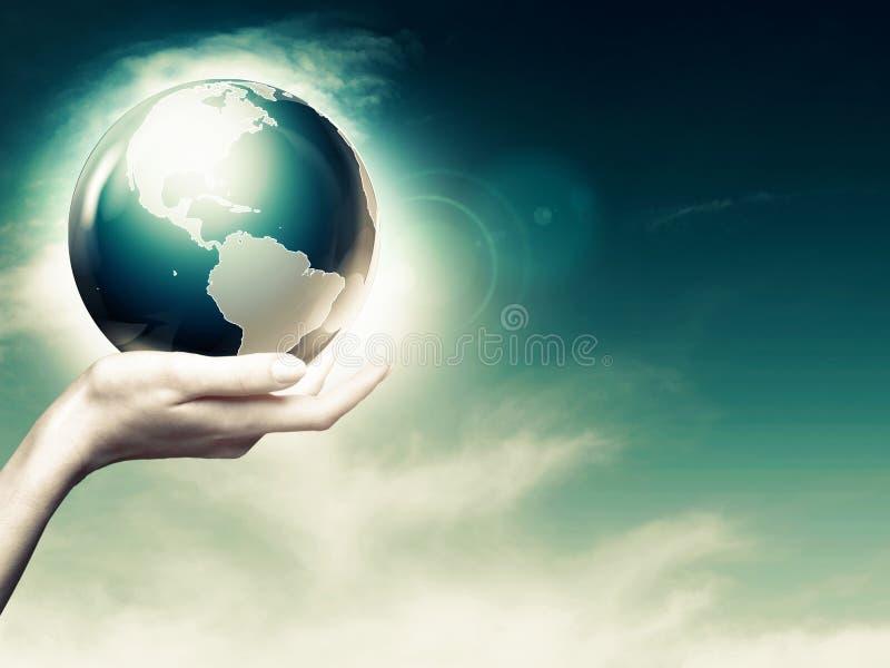 Gehele wereld in uw handen stock afbeeldingen