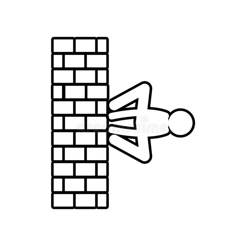Gehen auf Wandmannikone Element des Helden für bewegliches Konzept und Netz Appsikone Entwurf, dünne Linie Ikone für Websiteentwu stock abbildung