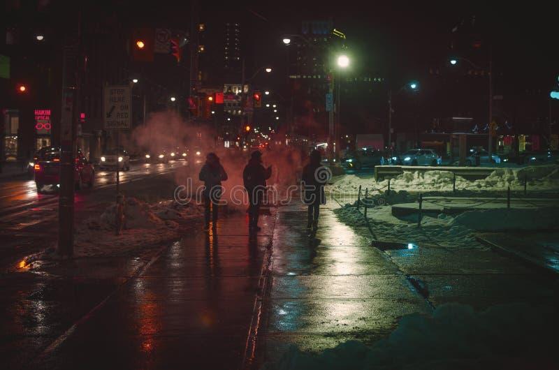 Gehen auf Winter nachts stockfotografie