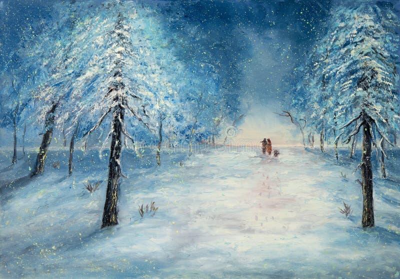 Gehen in den Schnee lizenzfreie abbildung