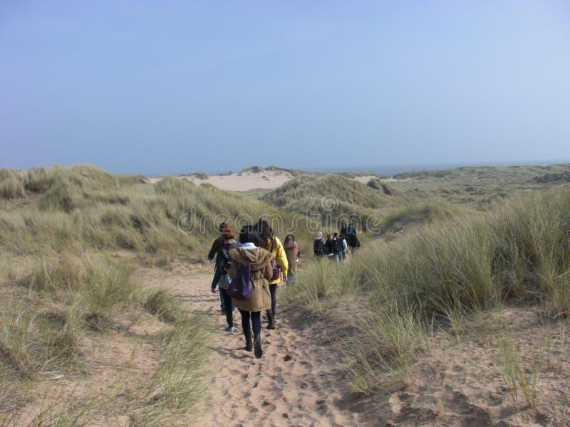 Gehen der Heide-Spur in Newburgh, Aberdeenshire, Scotlan-Landschaft Formatd lizenzfreie stockbilder