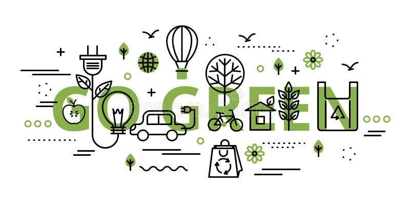 Gehen infographic Konzept in der Grünfarbe grünes lizenzfreie abbildung