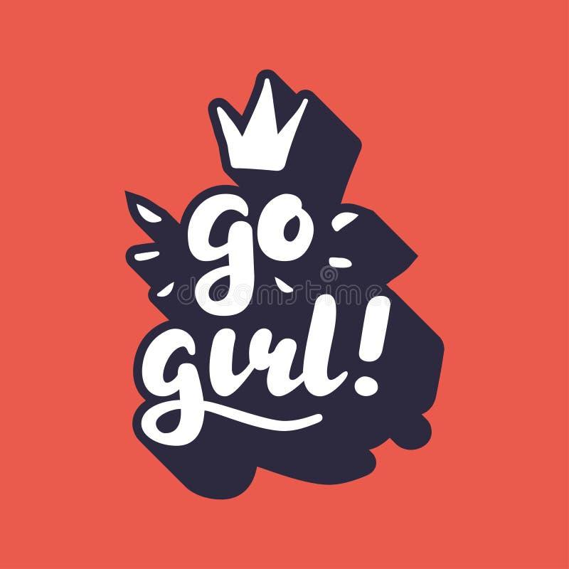Gehen Mädchen Handbeschriftungs-Vektor Illustration stockfotos
