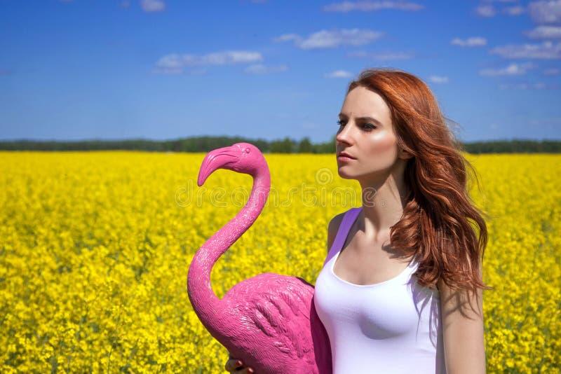 Gehen mit Flamingo stockfoto