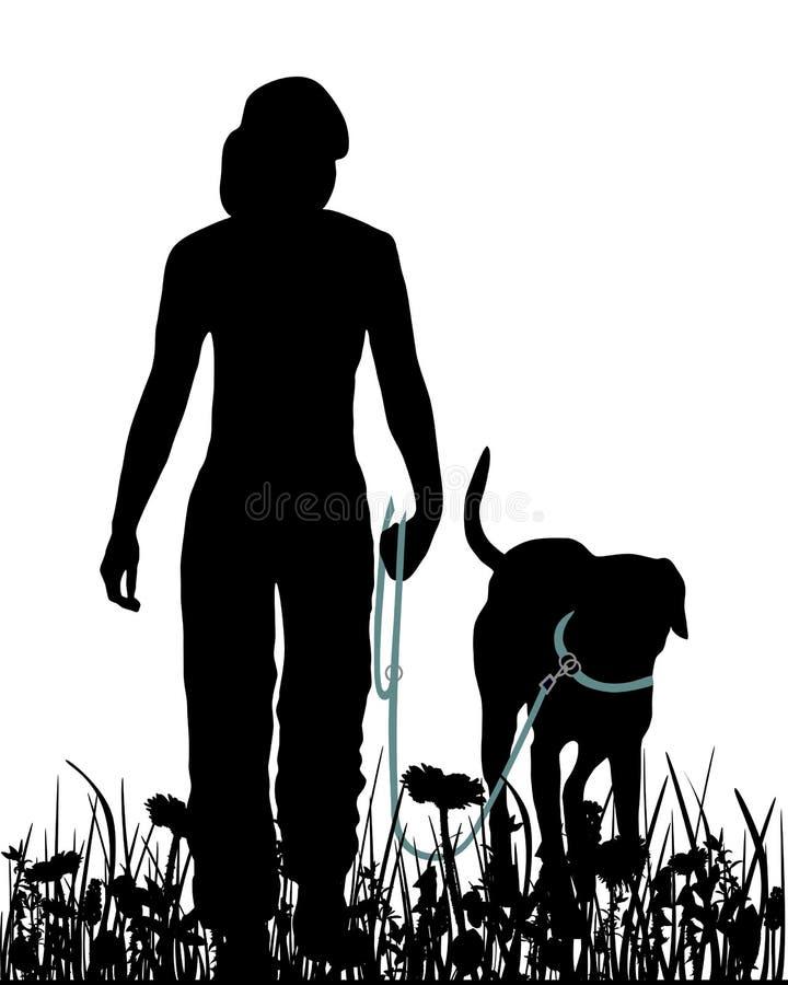 Gehen mit Hund in der Wiese lizenzfreie abbildung