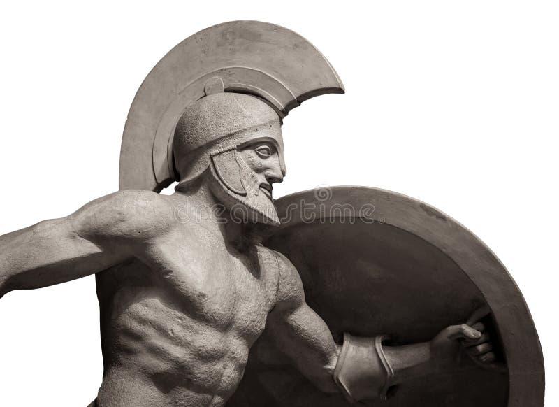 Gehen Sie in der griechischen alten Skulptur des Sturzhelms des Kriegers voran Getrennt auf weißem Hintergrund lizenzfreie stockfotos