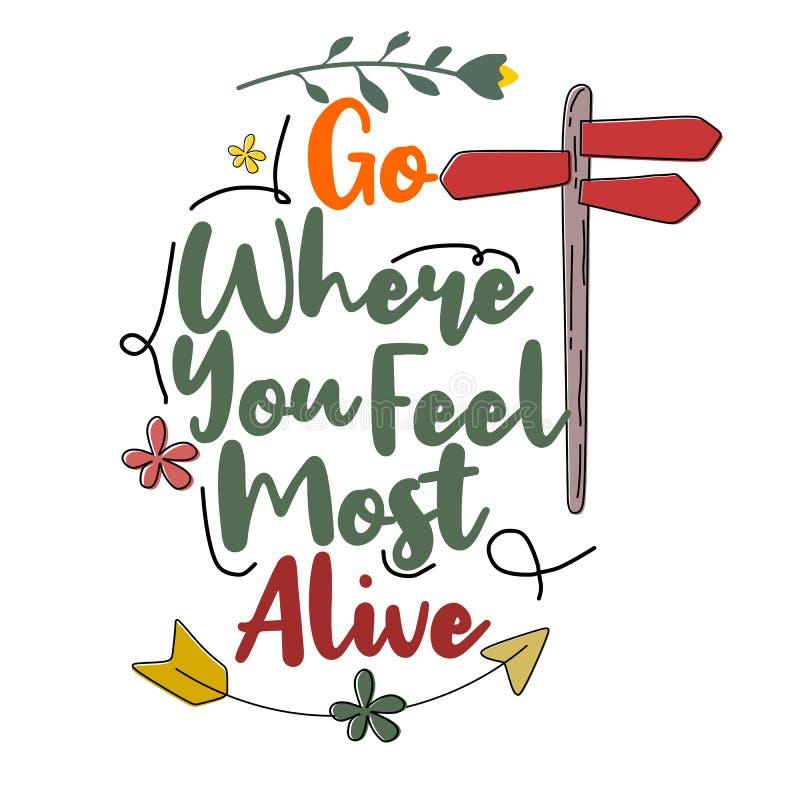 Gehen Sie, wohin Sie am lebendigsten sich f?hlen Erstklassiges Motivzitat Typografie-Zitat Vektorzitat mit wei?em Hintergrund stock abbildung