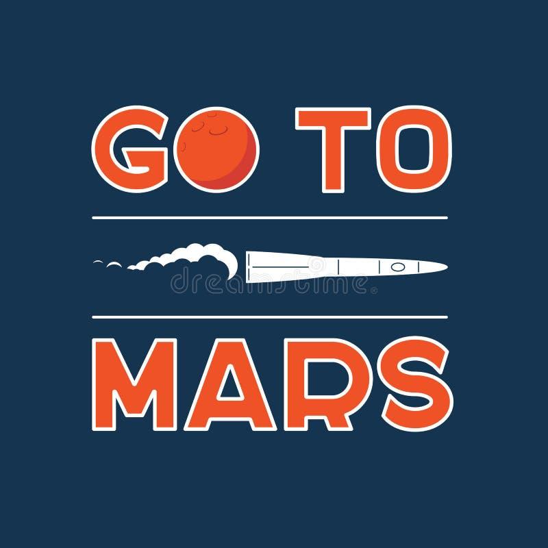 Gehen Sie zum Mars-Vektorkarikaturplakat vektor abbildung