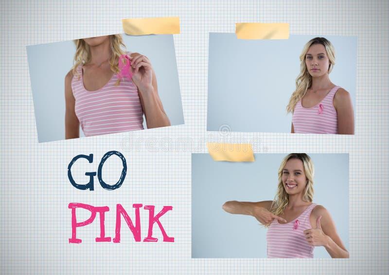 Gehen Text und Brustkrebs-Bewusstseins-Foto-Collage rosa lizenzfreies stockfoto