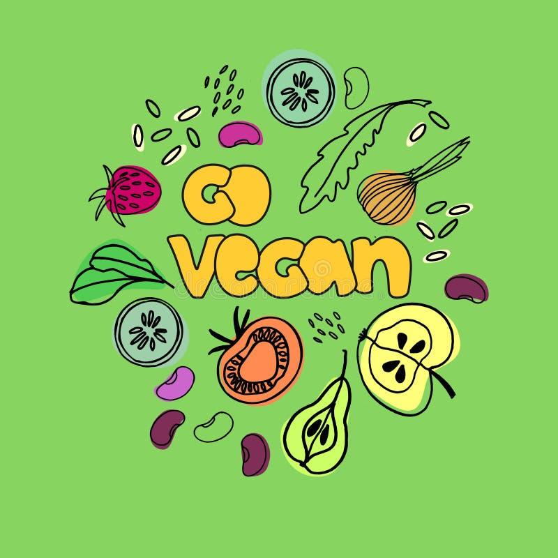 Gehen Veganabbildung Veganismkonzept Handgezogene Bilder von Nahrungsmitteln des strengen Vegetariers lizenzfreie stockfotografie