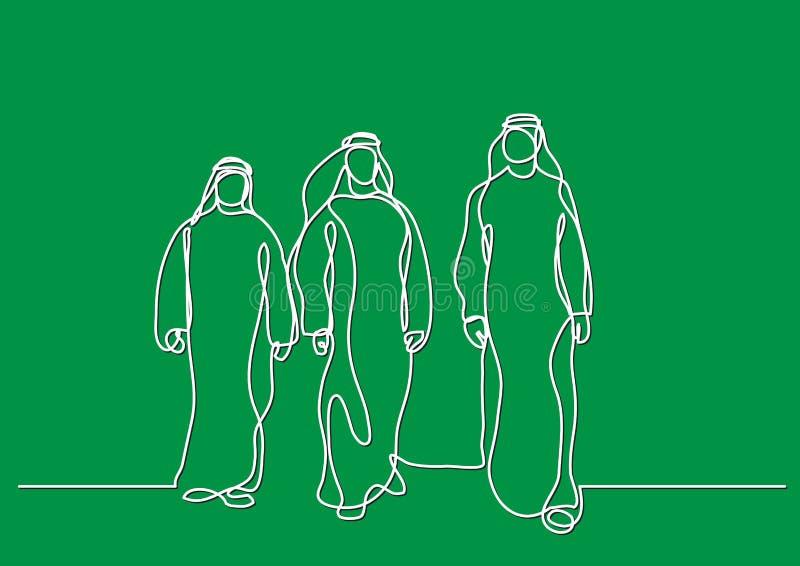 Gehende arabische Männer im keffiyeh - Federzeichnung der einzelnen Zeile vektor abbildung