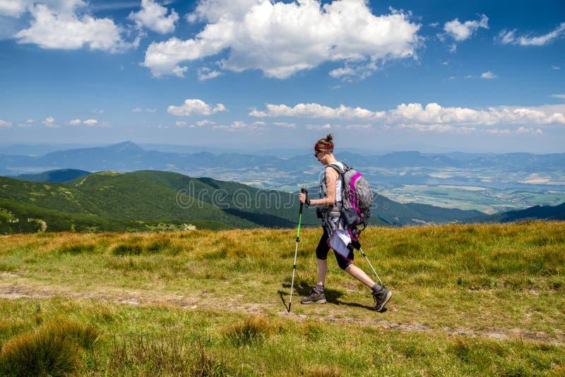 Gehende Frau, die auf den Bergen wandert stockfotos