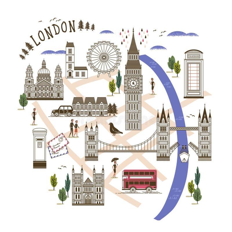 Gehende Karte Londons stock abbildung