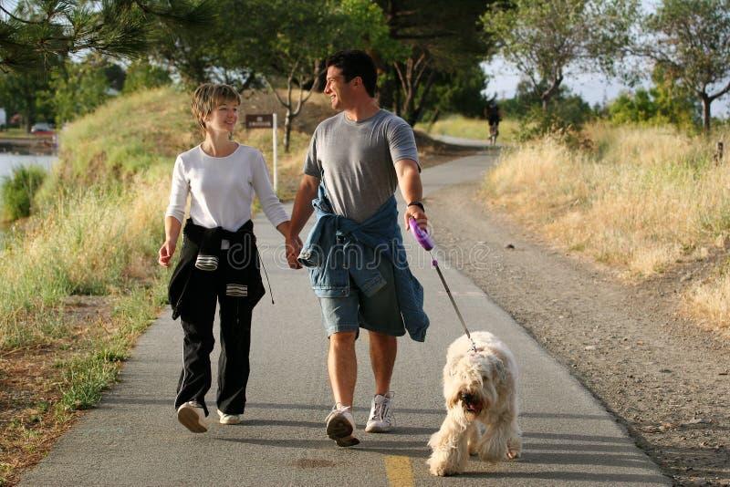 Gehende Paare ihr Hund stockbilder