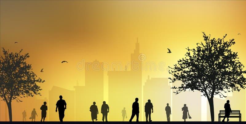 Gehende Schattenbilder der Leute stock abbildung