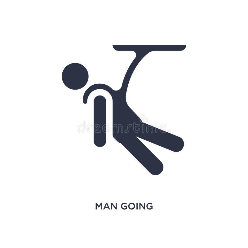 gehende springende Ikone des Federelementes des Mannes auf weißem Hintergrund Einfache Elementillustration vom Verhaltenkonzept lizenzfreie abbildung