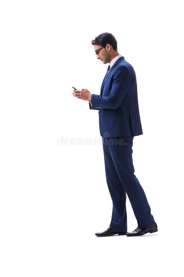 Gehende stehende Seitenansicht des Geschäftsmannes lokalisiert auf weißem backgro lizenzfreie stockfotos