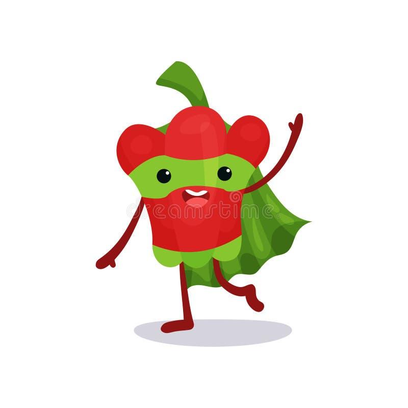 Gehende und wellenartig bewegende Hand des freundlichen roten Pfeffers, gekleidet im Superheldkostüm mit Kap und Maske lizenzfreie abbildung